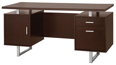 Modern Steel Desk Glavan Contemporary Pedestal Office Desk With Metal Sled Legs Floating Desk Top