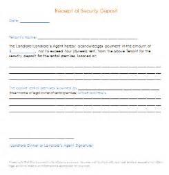 Bond Receipt Template Security Deposit Receipt Template