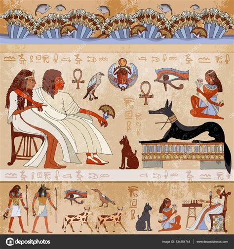 Tree Murals For Walls ancient egypt scene egyptian gods and pharaohs stock