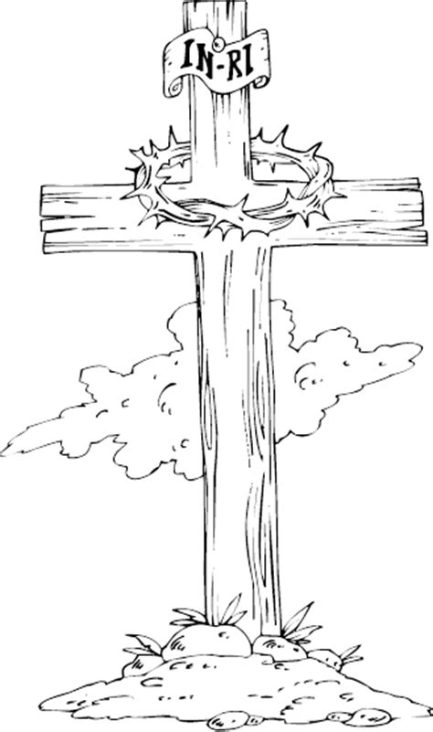 cross outline coloring page coloring pages
