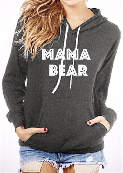 mama bear printed kangaroo pocket hoodie fairyseason