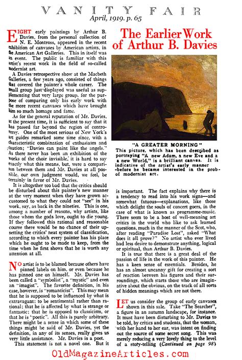 Vanity Fair Book Summary by Arthur B Davies Newspaper Article Arthur B Davies Vanity