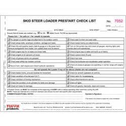 pre start checklist template skid steer prestart checklist tuffa products