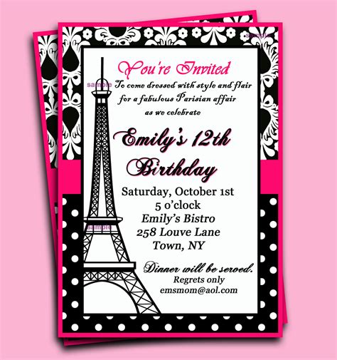 paris invitation printable or printed with free by