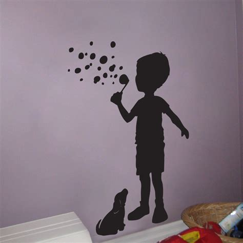 wall stickers boy boy blowing bubbles with his puppy wall decals