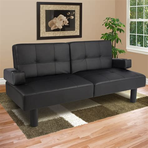 leather faux fold futon sofa bed sleeper