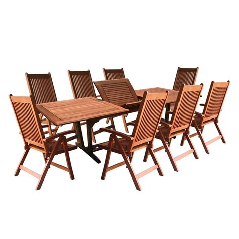 Vifah Roch Eucalyptus 9 Piece Patio Dining Set With Folding Patio Dining Set