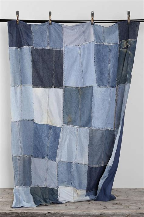 Blue Patchwork Curtains - vintage patchwork denim blanket urbanoutfitters uohome