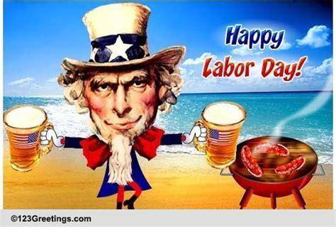 Uncle Sam's Labor Day Weekend! Free Happy Labor Day eCards