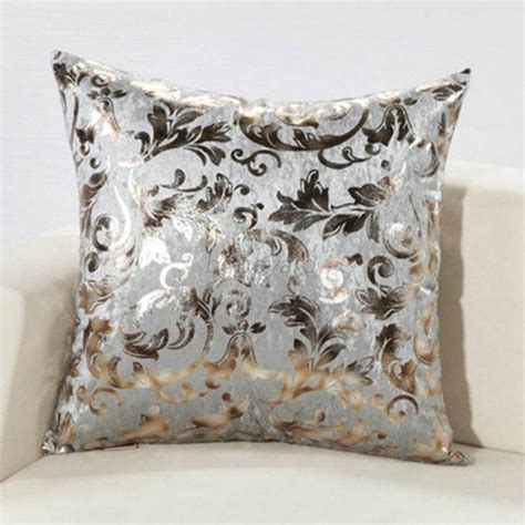 Luxury Sofa Pillows Luxury Silver Floral Cushion Throw Pillow Cover Sofa Decor 18 Quot X18 Quot 12colors Ebay