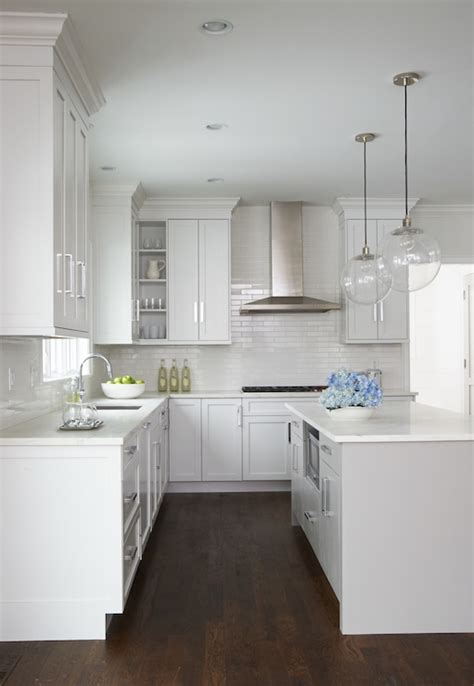 White Kitchen Lighting Light Gray Center Island Transitional Kitchen