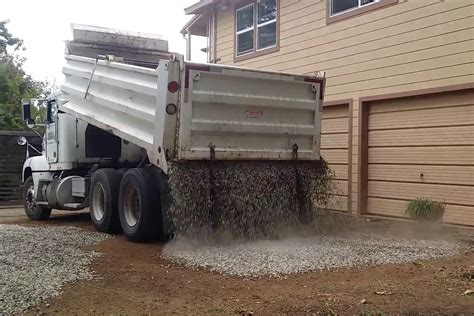 Truck Load Of Gravel Gravel Truck Drops Load Perfectly On New Driveway