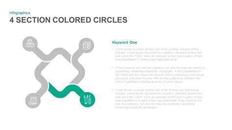 colored section 4 section colored circles powerpoint and keynote template