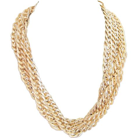 jewelry gold chain vintage strand gold tone link chain necklace from