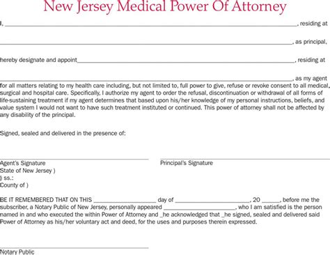 New Jersey Power Of Attorney Form Download Free Premium Templates Forms Sles For Jpeg Power Of Attorney Template Nj