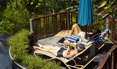 sunbathing in the backyard women sunbathing beside pool stock photo image of east