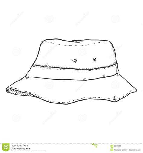 bucket hat coloring page vector single sketch bucket hat stock illustration image