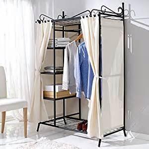 armoire penderie breezy en m 233 tal noir avec rideaux en