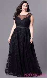 illusion long lace plus size prom dress promgirl