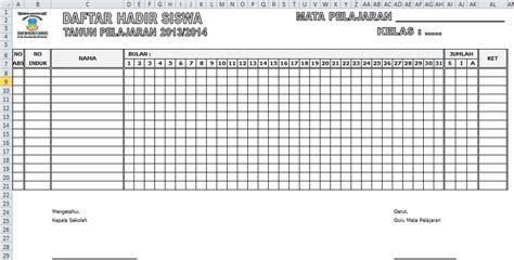 format rekap absensi siswa contoh absensi daftar hadir siswa excel sedikit berbagi