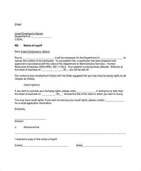 Small Business Layoff Letter Docoments 8 layoff notice templates free sle exle format