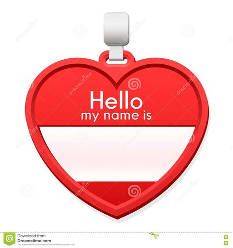name tag heart design name tag in the shape of a heart with copy space stock