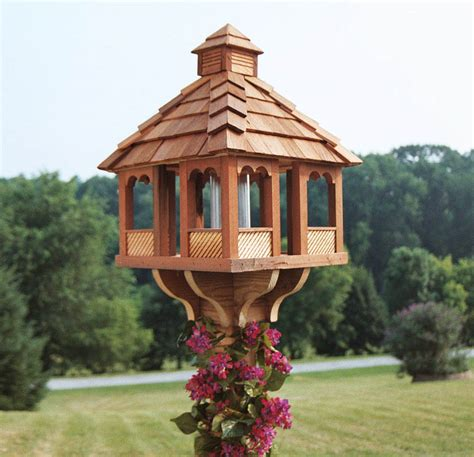 large wooden gazebo bird feeder unique bird feeder