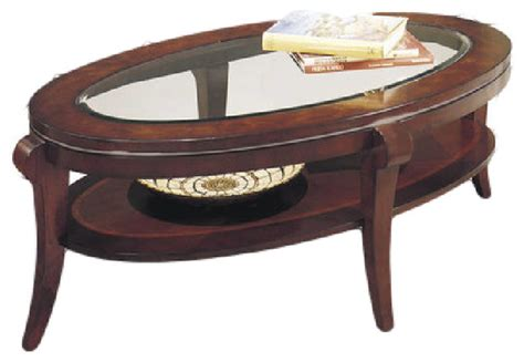 Ashland Heights Modern Cherry Wood Glass Oval Cocktail Oval Cherry Coffee Table