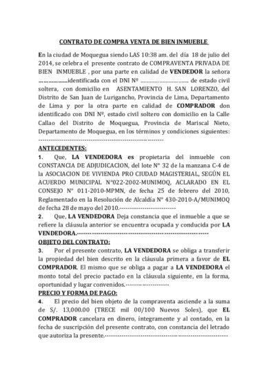 Modelo Contrato Compraventa Inmueble Vlex Chile | modelos y plantillas de contrato de compraventa
