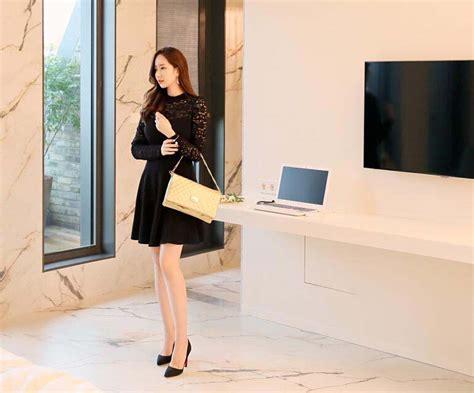 Dress Turtle Garis Garis dress pesta korea warna hitam brokat model terbaru jual murah import kerja