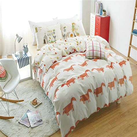 100 cotton red fox bedding set 4pcs home 200tc duvet
