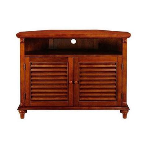 Louvered Cabinet Doors Home Depot Home Decorators Collection 40 In L X 19 5 In W Louvered Walnut Door Corner Tv Stand