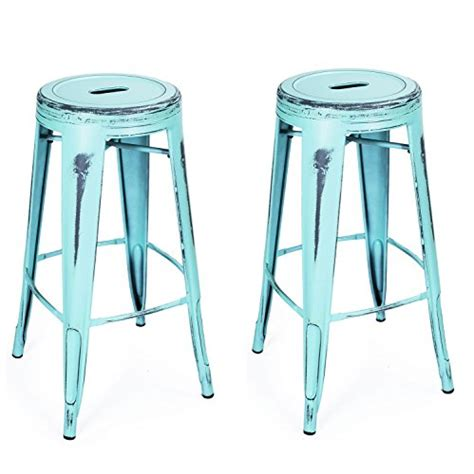 2 Set Steel Blue Overal Blouse By Queenara adeco 30 inch metal stools vintage barstool antique light blue set of 2