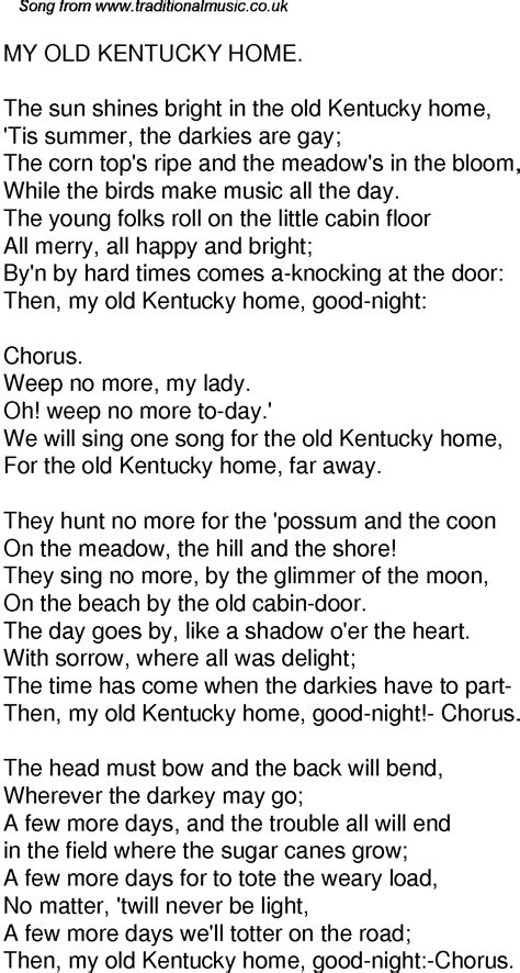time song lyrics for 59 my kentucky home