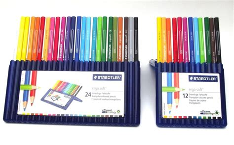staedtler ergosoft coloured pencils boxes of 12 or 24