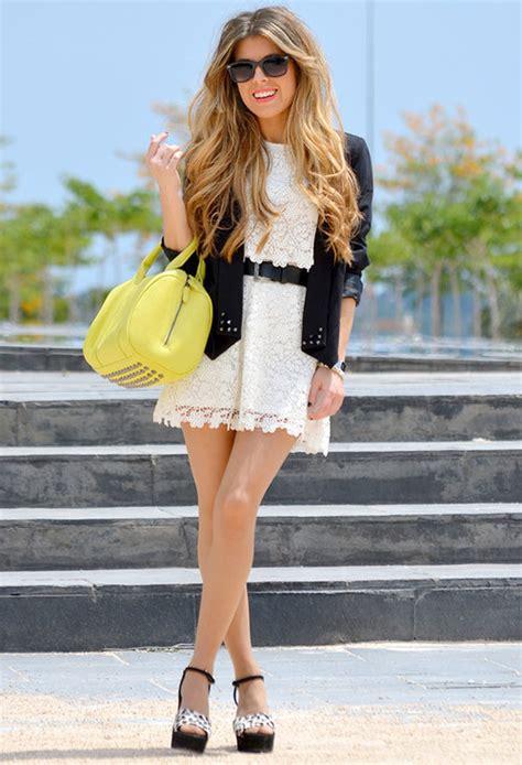 white lace mini dress  black belt blazer platform