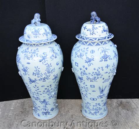 Large Urns And Vases by Pair Large Blue And White Ming Porcelain Lidded Urns Vases