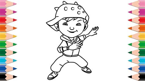 coloring book playlist how to draw boboiboy for learning colors drawing