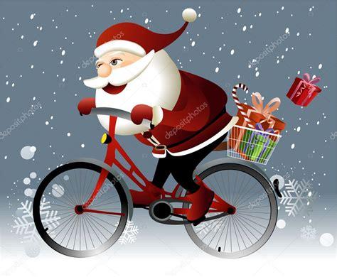 papai noel a andar de bicicleta vetor de stock