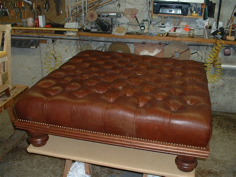 vintage brown leather ottoman old and vintage brown squre tufted leather ottoman coffe