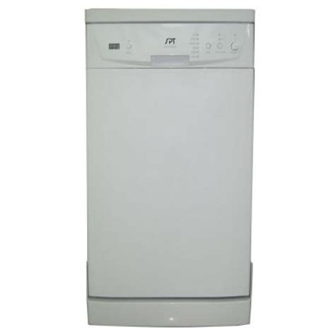 spt 18 in front portable dishwasher in white with