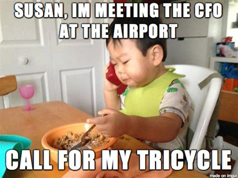 Funny Toddler Memes - funny business baby making phone call during his breakfast