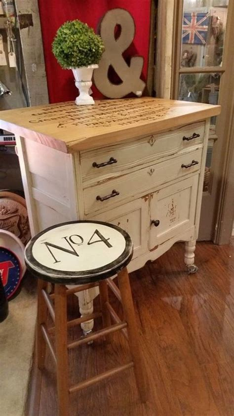 repurposed kitchen island w butcher block top