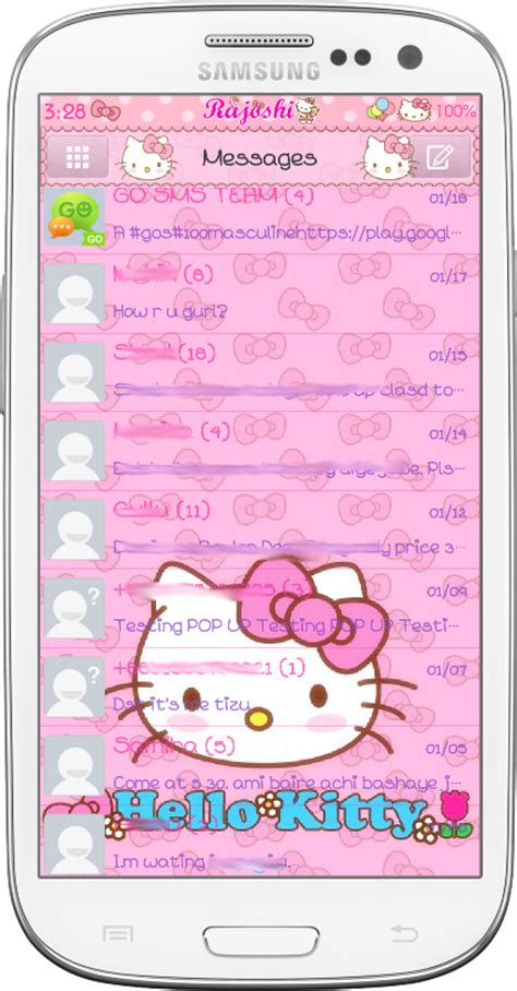 themes samsung hello kitty pretty droid themes hello kitty loves bow go sms theme