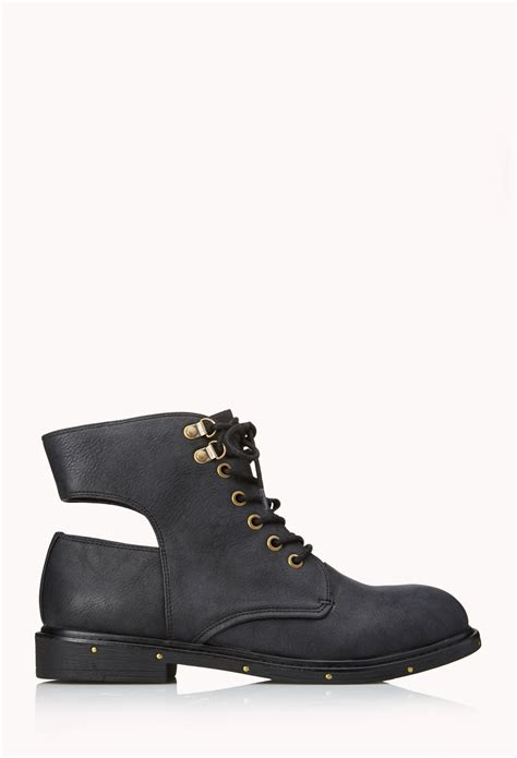 combat boots for forever 21 forever 21 goto combat boots in black lyst