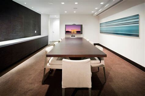 modern conference room design row of built in cabinets with counter nyc modern
