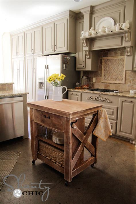 white rustic x small rolling kitchen island diy projects
