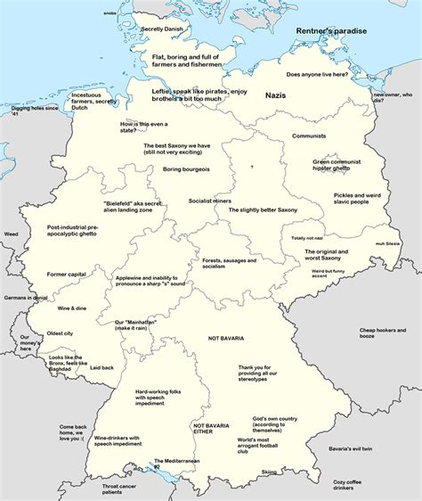 map of germany in german german map of national stereotypes germany