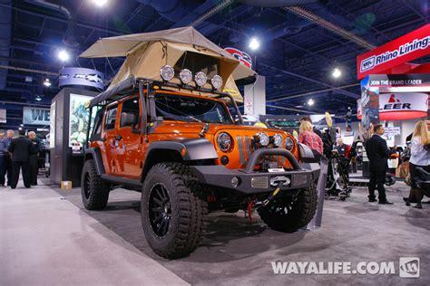 jeep tent 2 door 2013 sema mango tango smittybilt jeep jk wrangler 4 door