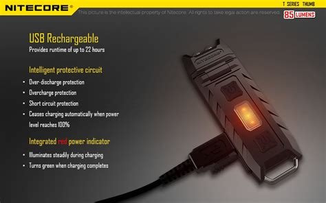Nitecore Thumb Dual Color Led Usb Rechargeable Keychain Light nitecore thumb usb rechargeable compact led work light liteshop au